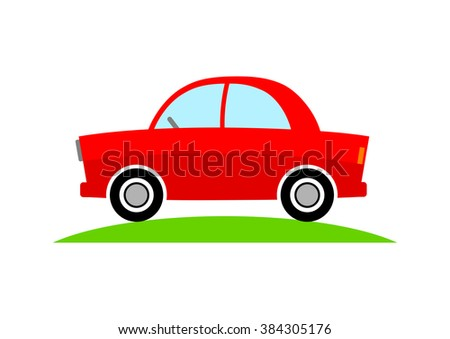 Red car icon on white background