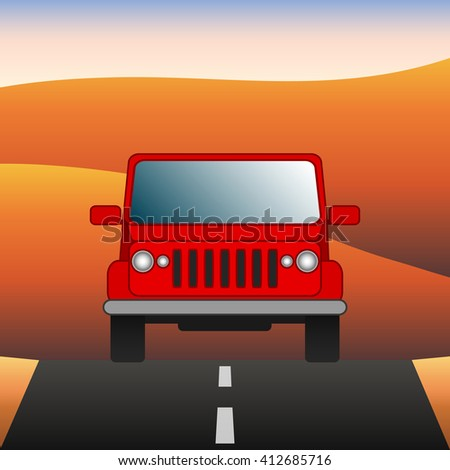 Red car on the road SUV rides through the desert. Sport utility vehicle on the background of desert landscape. Vector Image. - stock vector