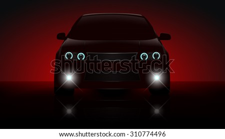 Red car with parking lights on dark red background. - stock vector