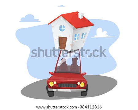 Red car with two people inside making the move. House being transported on the roof. vector - stock vector