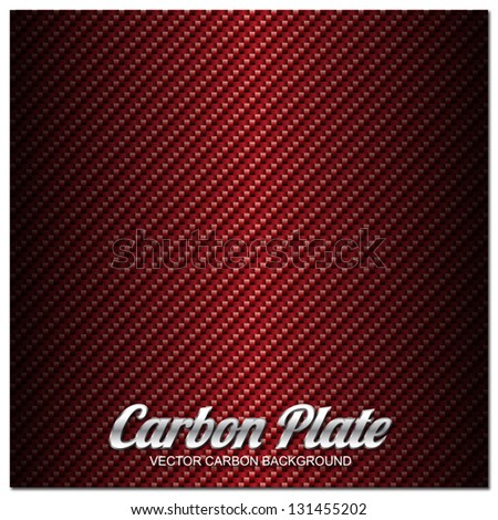 Red Carbon fiber vector background - stock vector
