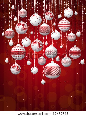 red card with christmas balls, vector illustration
