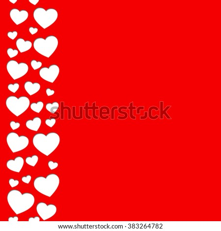 Red card with hearts. Seamless pattern