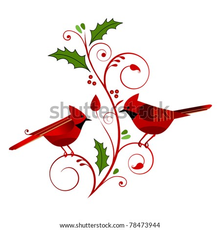 red cardinals with christmas flourish - stock vector