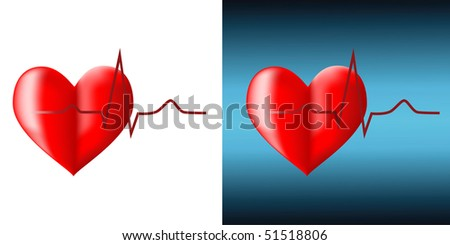 Red cardiogram and heart on a white background - stock vector
