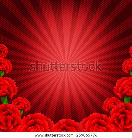 Red Carnations Border With Gradient Mesh, Vector Illustration - stock vector