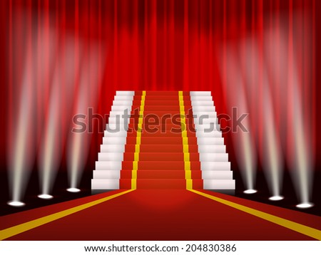 Red carpet and stair for awards ceremony, vector illustration.  - stock vector