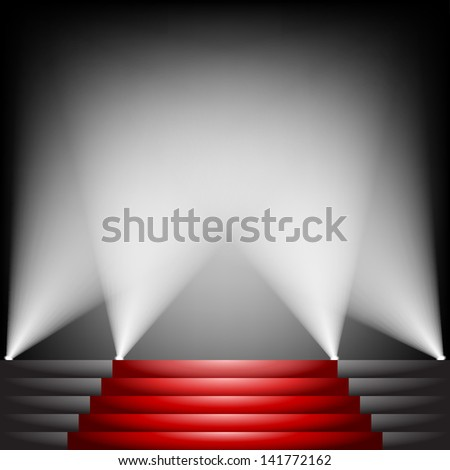 Red carpet and stairs with spotlight up - stock vector