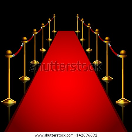 Red carpet at night - stock vector