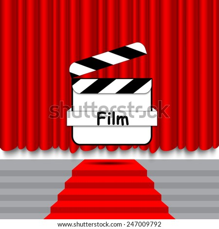 Red carpet curtain movie clapper - stock vector