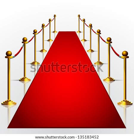 red carpet 3d illustration isolated over white background - stock vector
