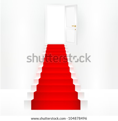 Red carpet entrance on a stairway leading to a doorway - stock vector