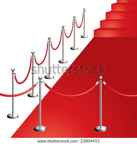 red carpet entrance vector illustration isolated on white