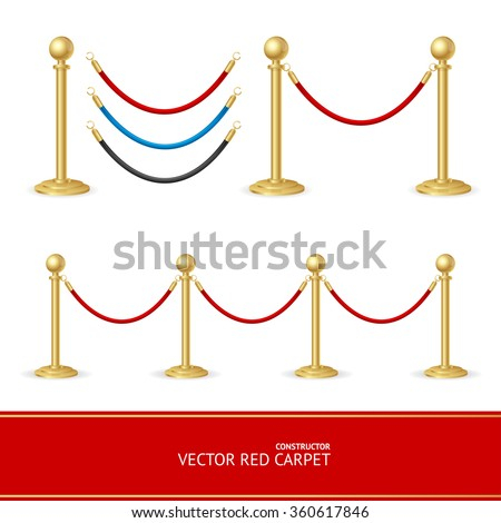 Red Carpet Gold Barrier Constructor. Vector illustration - stock vector