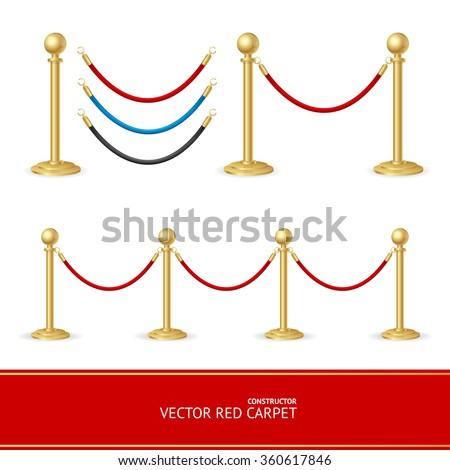 Red Carpet Gold Barrier Constructor. Vector illustration - stock vector