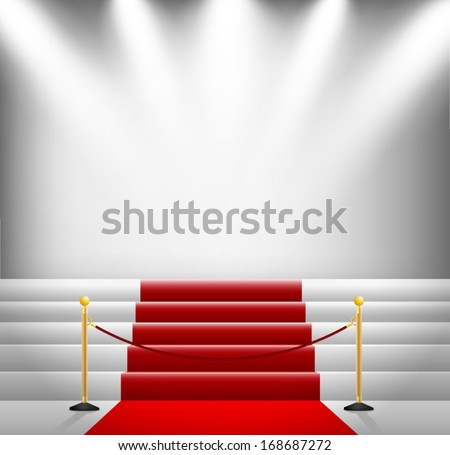 Red carpet illuminated by spotlights - stock vector