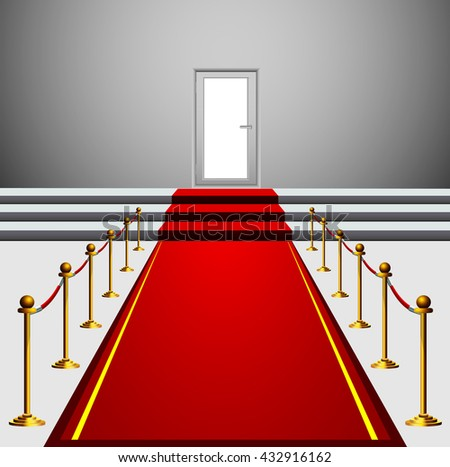 Red Carpet Leading to the Stairs and Door