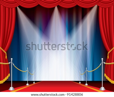 red carpet on opened stage with three spotlights - stock vector