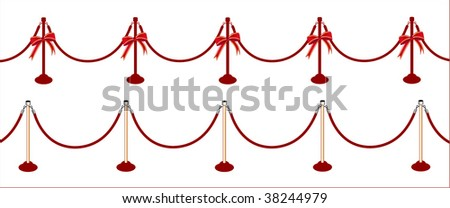 red carpet  poles rows one with bows one with details (lots of uses - lincluding ine for sales) - stock vector