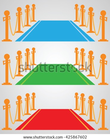 Red carpet: set of vector illustrations