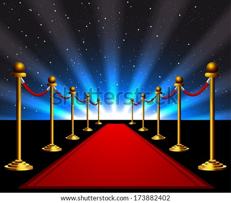 Red carpet to the movie stars - stock vector