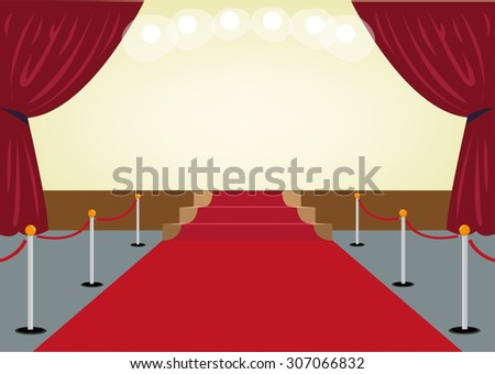Red Carpet towards a Stage with Red Curtain frames. Editable Clip Art. - stock vector