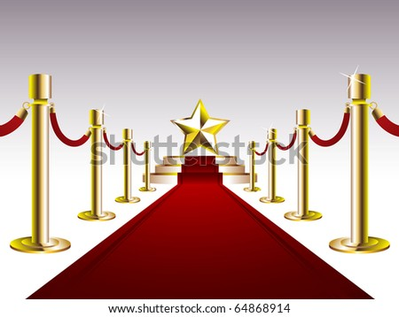 Red Carpet with Golden Star - stock vector