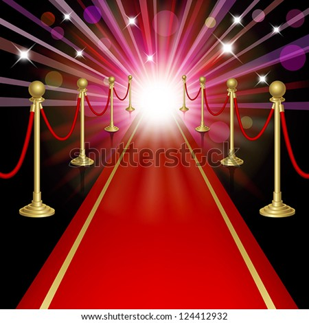 Red carpet with guard. Clipping Mask. Mesh.This file contains transparency.EPS10 - stock vector