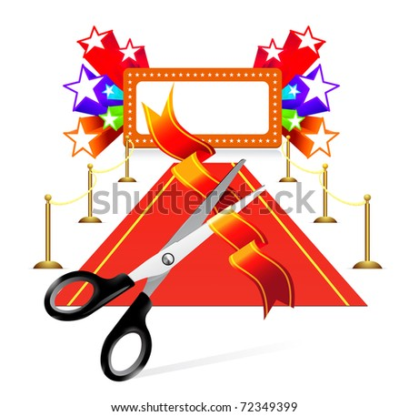 Red carpet with scissors and star background - stock vector
