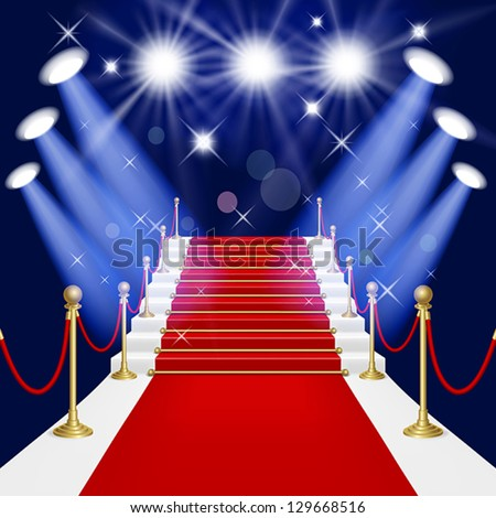 Red carpet with spotlight. Mesh.This file contains transparency.EPS10. Clipping Mask. - stock vector