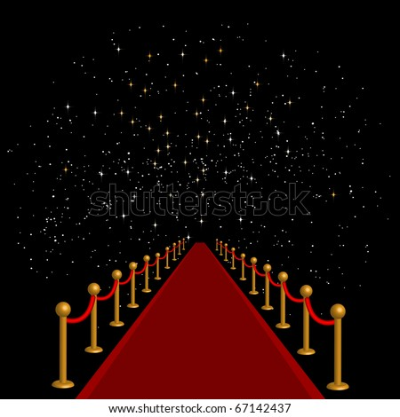 Red carpet with velvet rope on starry sky background, eps10 vector - stock vector