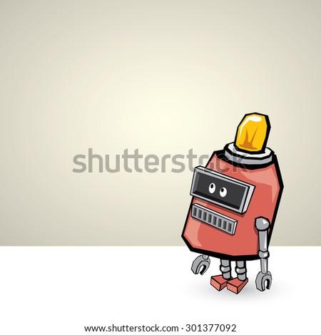 red Cartoon 3d Robot - stock vector