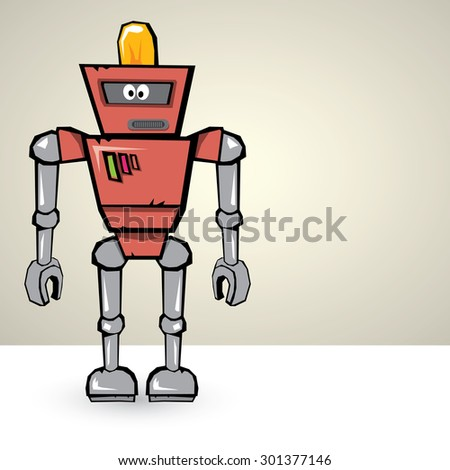 red Cartoon 3d Robot - stock vector