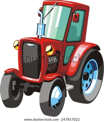 red cartoon  tractor for agricultural works
