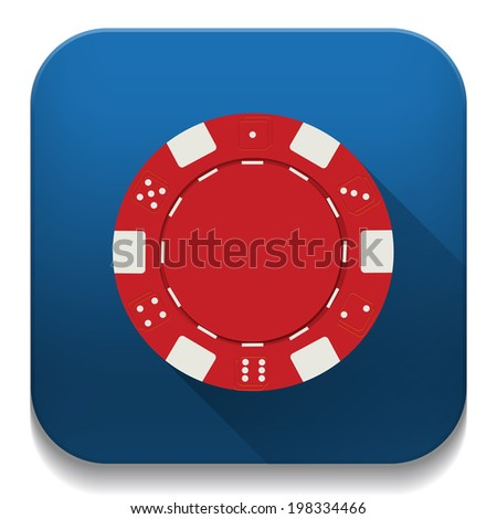 red casino chip icon With long shadow over app button - stock vector
