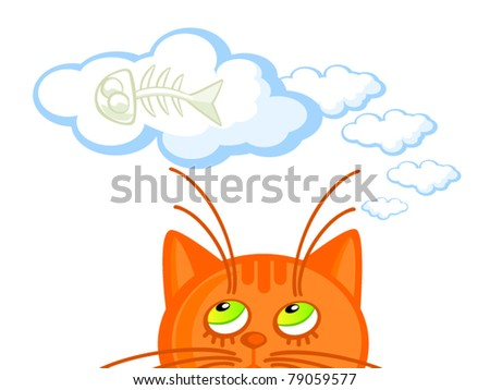 Vector illustration cute fox text hello stock vector for Dreaming of eating fish