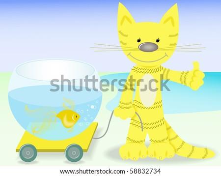 red cat lucky to cart aquarium with goldfish - stock vector