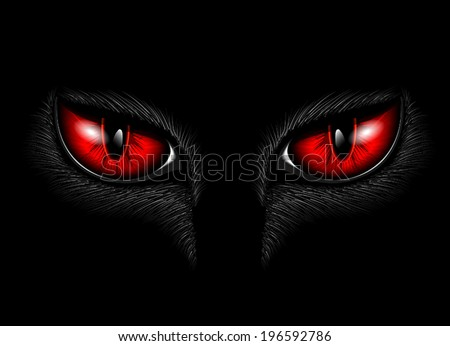 red cat's eyes - stock vector