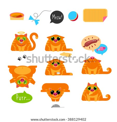 Red Cat. Set of characters. Emotion for chat, avatars, prints. Modern flat style collection.