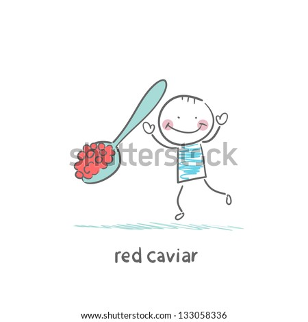 Red caviar - stock vector
