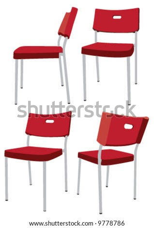Red chair in different views - stock vector