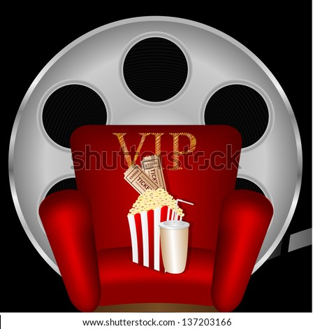 red chair with popcorn and a drink on the background of film - stock vector