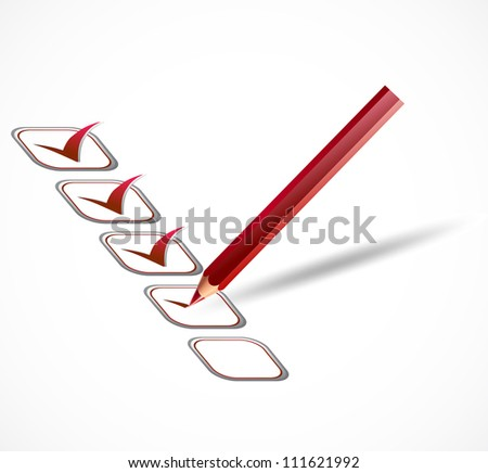 Red check list. Vector - stock vector