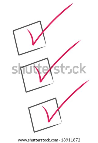 red check marks inside black boxes - check list - stock vector