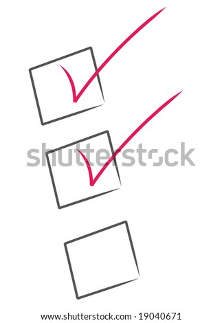 red check marks inside black boxes - check list partially complete - stock vector