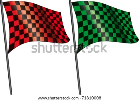 Red checkered flag and green checkered flag - stock vector