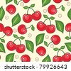 Red cherries with green leaves on a yellow background. A seamless vector background - stock
