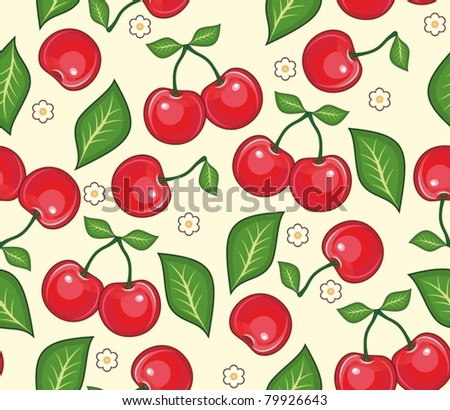 Red cherries with green leaves on a yellow background. A seamless vector background - stock vector