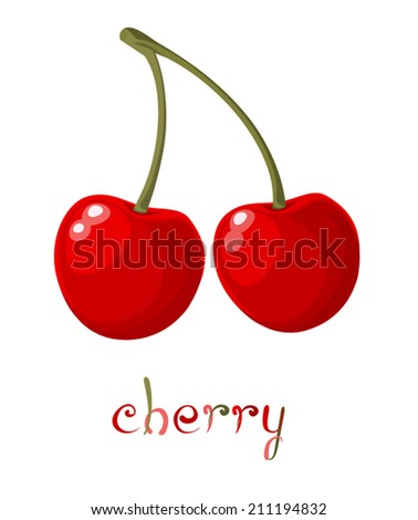Red Cherry. Illustration of brunch fresh ripe cherry. A couple of red berries. Clip art with title. Isolated on white. Vector file is EPS8, all elements are grouped.