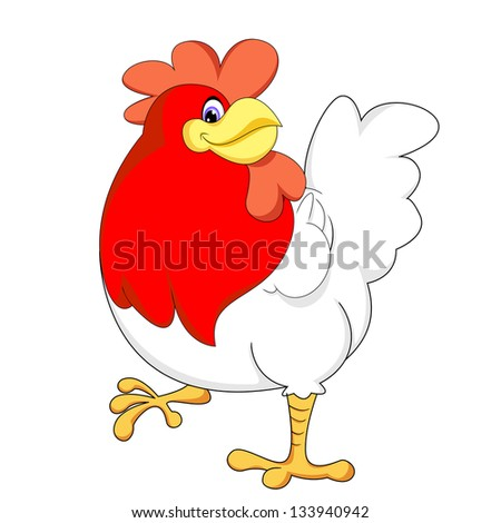 red chicken vector - stock vector